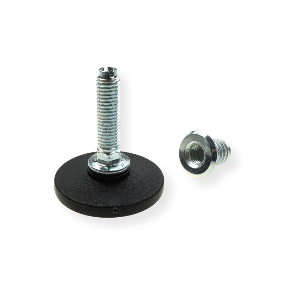 Adjustable Foot M10 x 56 mm with insert nut M10 - Round base