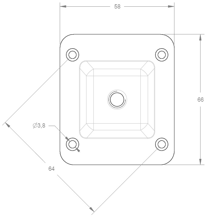 Level Square Mounting Plate M8 – 66 x 58 x 1.8 mm