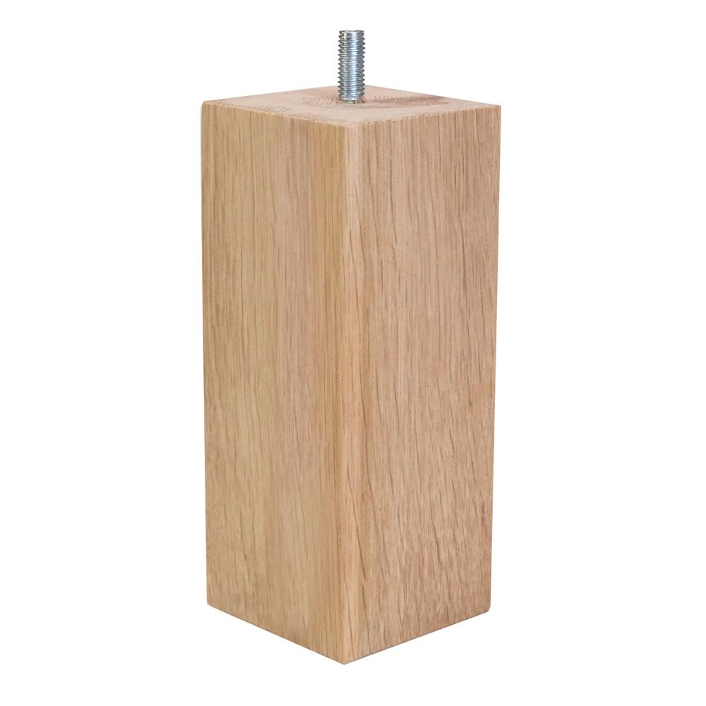 Britwoo Furniture Square Oak Leg - 6 x 6 x 15 cm Raw